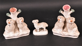 Two English Staffordshire Porcelain Figural Dogs