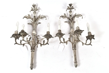 Pair of Silvered Metal Three Light Wall Sconces