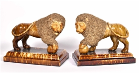 Pair of Flint Enamel Lions, Bennington, VT