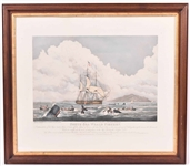 "Engraving, ""South Sea Whale Fishery"" W.J. Huggins"