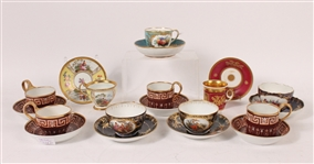 Ten Assorted Porcelain Cups and Saucers
