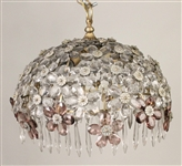 Floral-Decorated Crystal Dome-Form Hanging Light