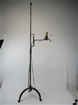 Black-Painted Wrought-Iron Tripod Standing Lamp