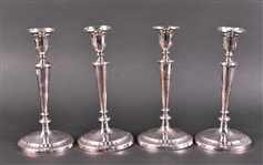 Four George III Silver Old Sheffield Candlesticks
