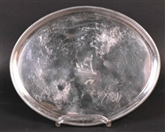 English Georgian Silver Oval Footed Salver