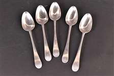 Five American Silver Peter Davis Tablespoons