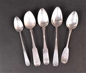 Five American Silver Spoons