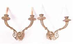 Pair of Classical Bronze Two Light Wall Sconces