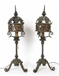 Pair of Baroque Style Wrought-Iron Table Lanterns