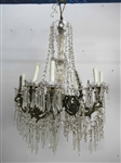8 Light Crystal and Patinated Metal Chandelier