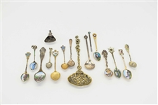 Sterling and Enamel Souvenir Spoons