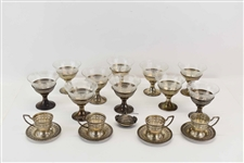 Ten Sterling Silver and Glass Dessert Footed Cups