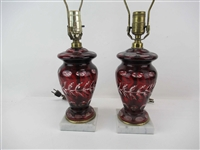 Pair of Ruby Cut to Clear Table Lamps