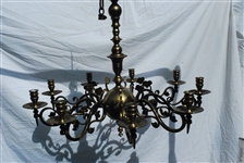 Dutch Brass Nine Light Chandelier