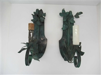 Pair of Metal Leaf Decorated Wall Sconces