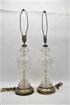 Vintage Pair of Cut Crystal Table Lamps