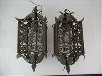 Pair of Wrought Iron Hanging Lanterns