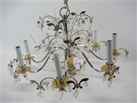 Chrome, Brass, and Crystal Eight-Light Chandelier