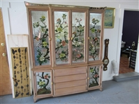 Reverse Painted Mirrored Breakfront China Cabinet