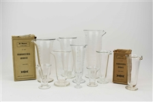 Group of Assorted Etched Glass Beakers