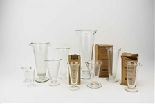 Group of Assorted Vintage Etched Glass Beakers