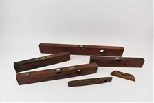 Group of Antique & Vintage Wood and Brass Levels