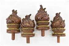 4 Wooden Flame Finials
