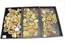 Large Group of Brass Keyhole Covers Escutcheons
